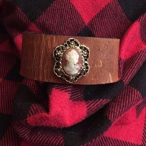 Leather Cameo bracelet